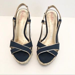 Lilly Pulitzer Blue Gold Espadrille Wedges 6.5